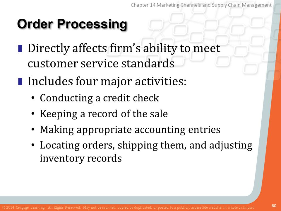 Order Processing Directly affects firm's ability to meet customer service standards. Includes four major activities: