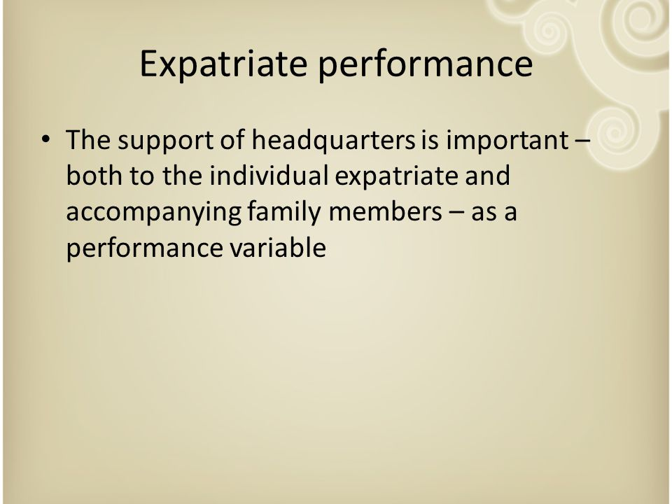 Expatriate performance