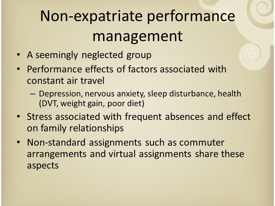 Non-expatriate performance management