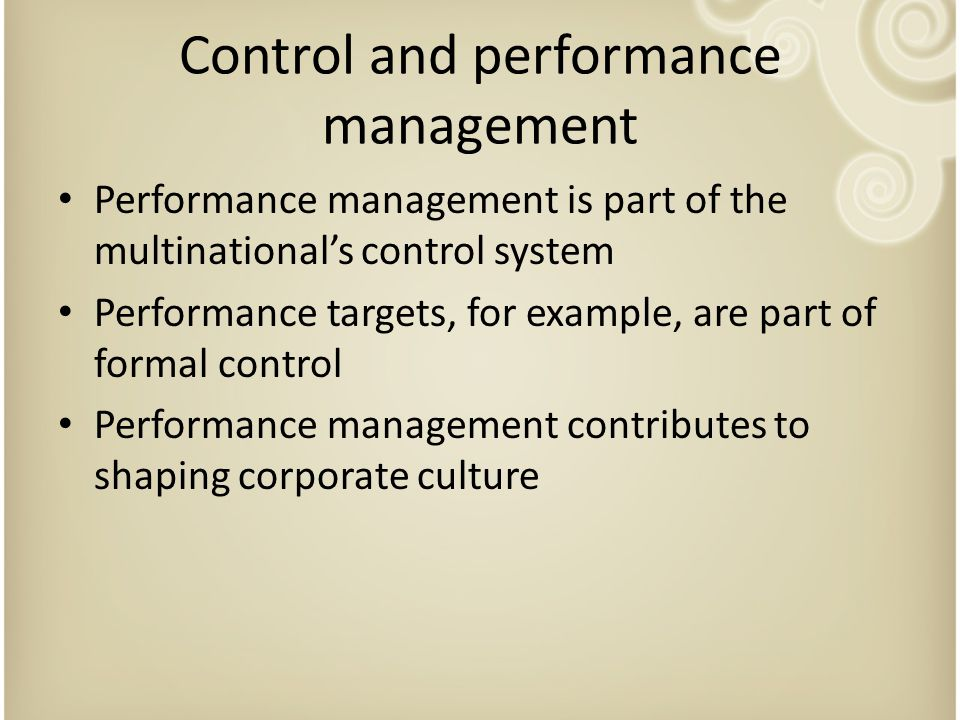 Control and performance management