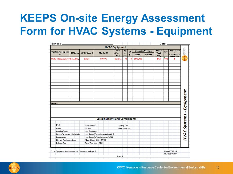 KEEPS On-site Energy Assessment Form for HVAC Systems - Equipment