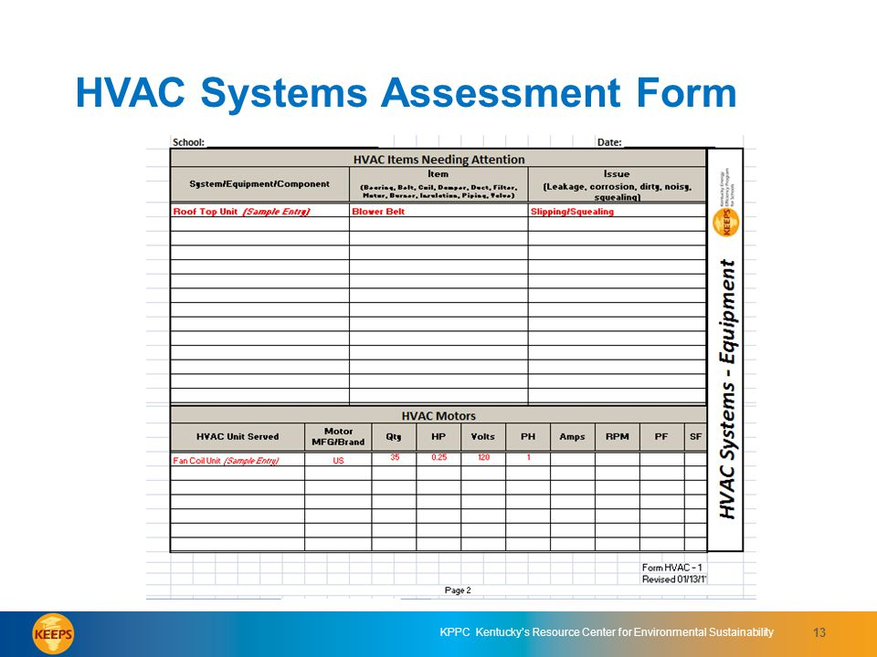 HVAC Systems Assessment Form 3