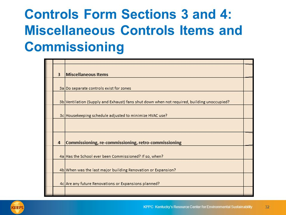 Controls Form Sections 3 and 4: Miscellaneous Controls Items and Commissioning