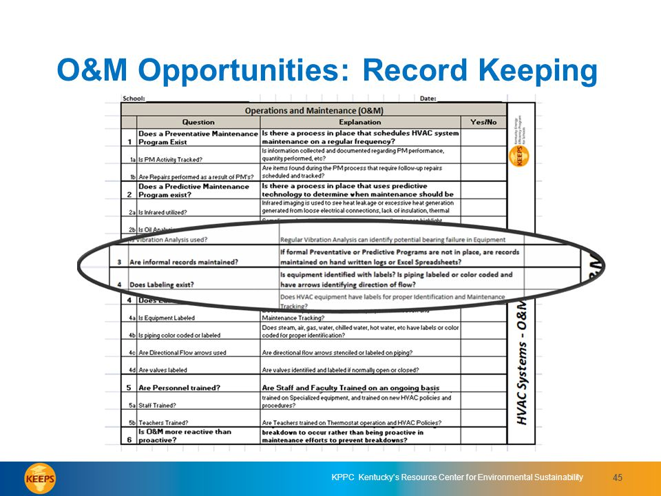 O&M Opportunities: Record Keeping
