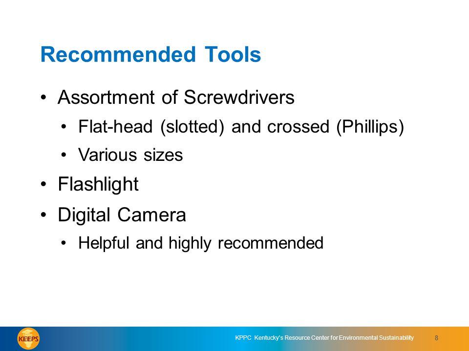 Recommended Tools Assortment of Screwdrivers Flashlight Digital Camera