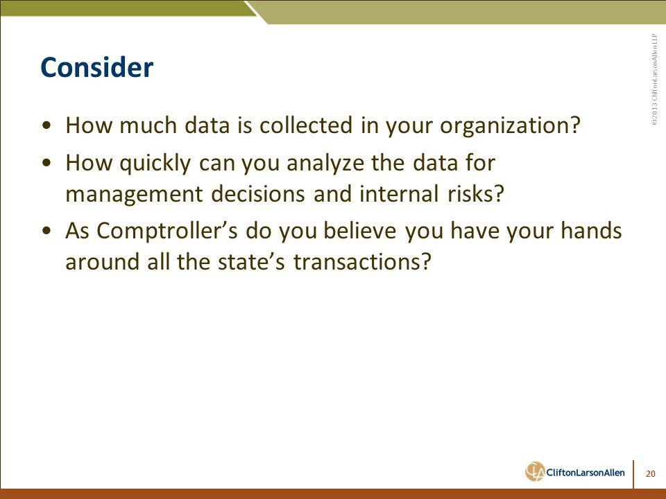 Consider How much data is collected in your organization