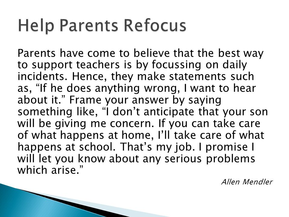 Help Parents Refocus