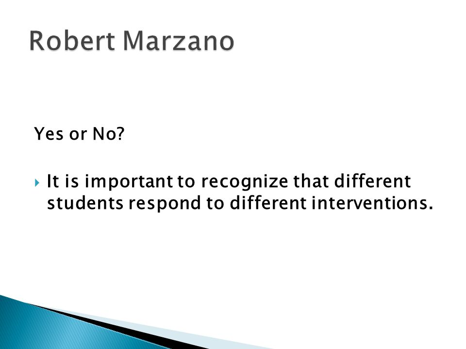 Robert Marzano Yes or No.