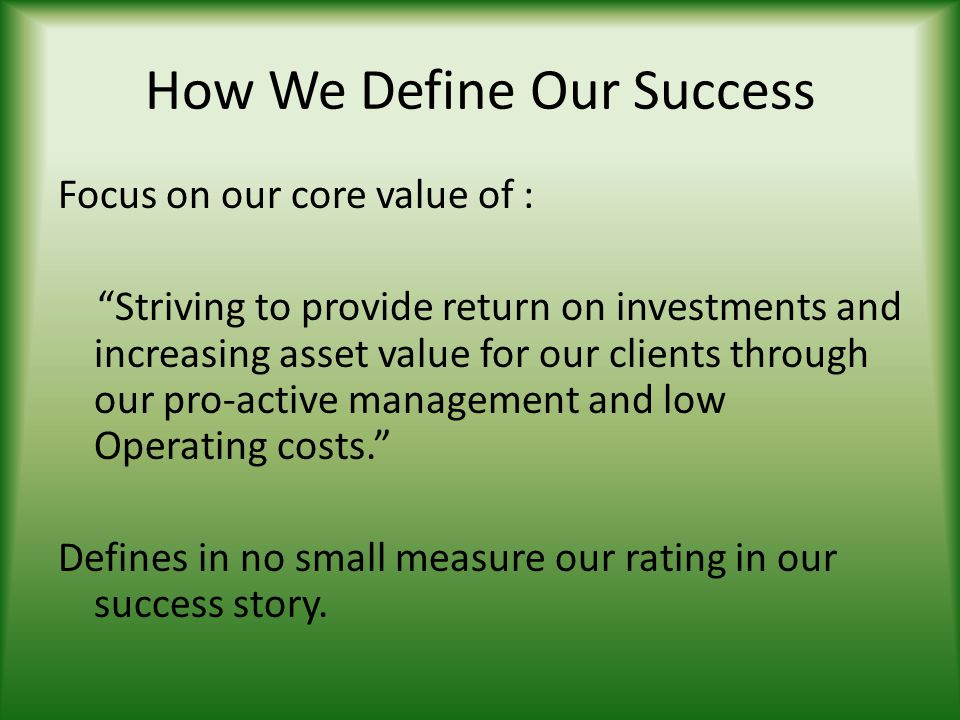 How We Define Our Success