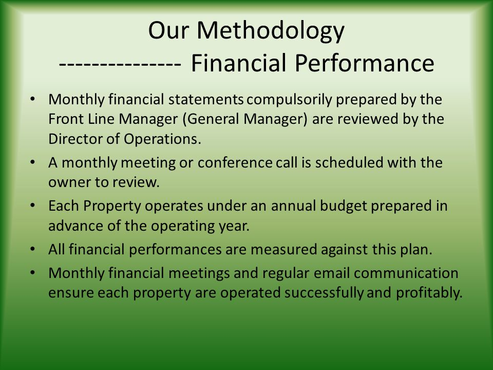 Our Methodology --------------- Financial Performance