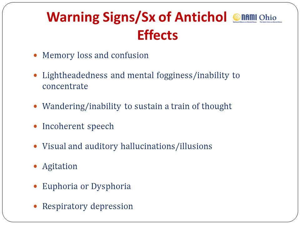 Warning Signs/Sx of Anticholinergic Effects