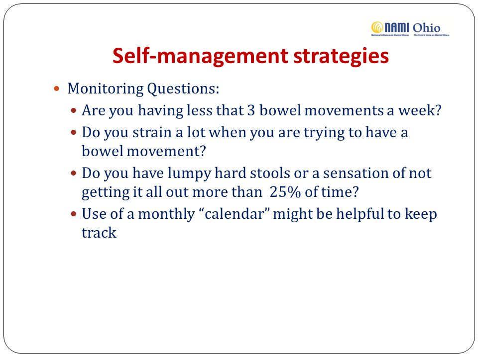 Self-management strategies