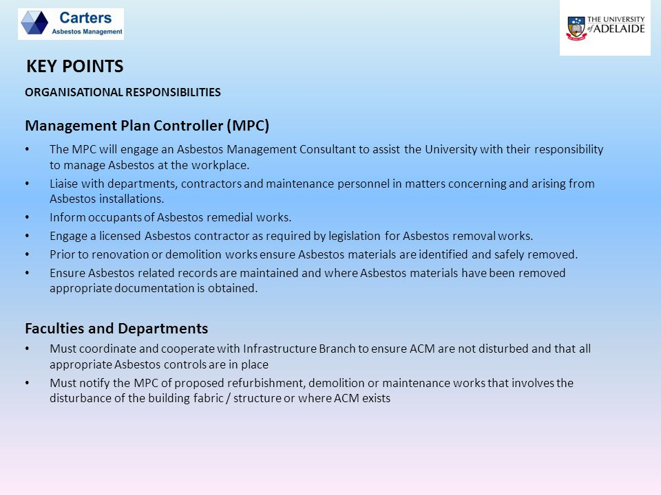 KEY POINTS Management Plan Controller (MPC) Faculties and Departments