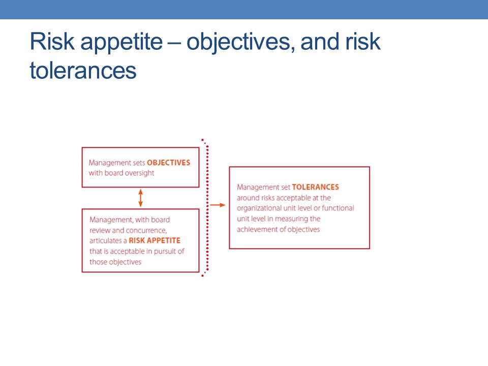 Risk appetite – objectives, and risk tolerances