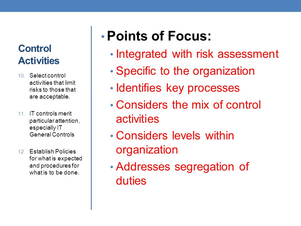 Points of Focus: Integrated with risk assessment