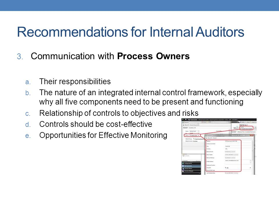Recommendations for Internal Auditors