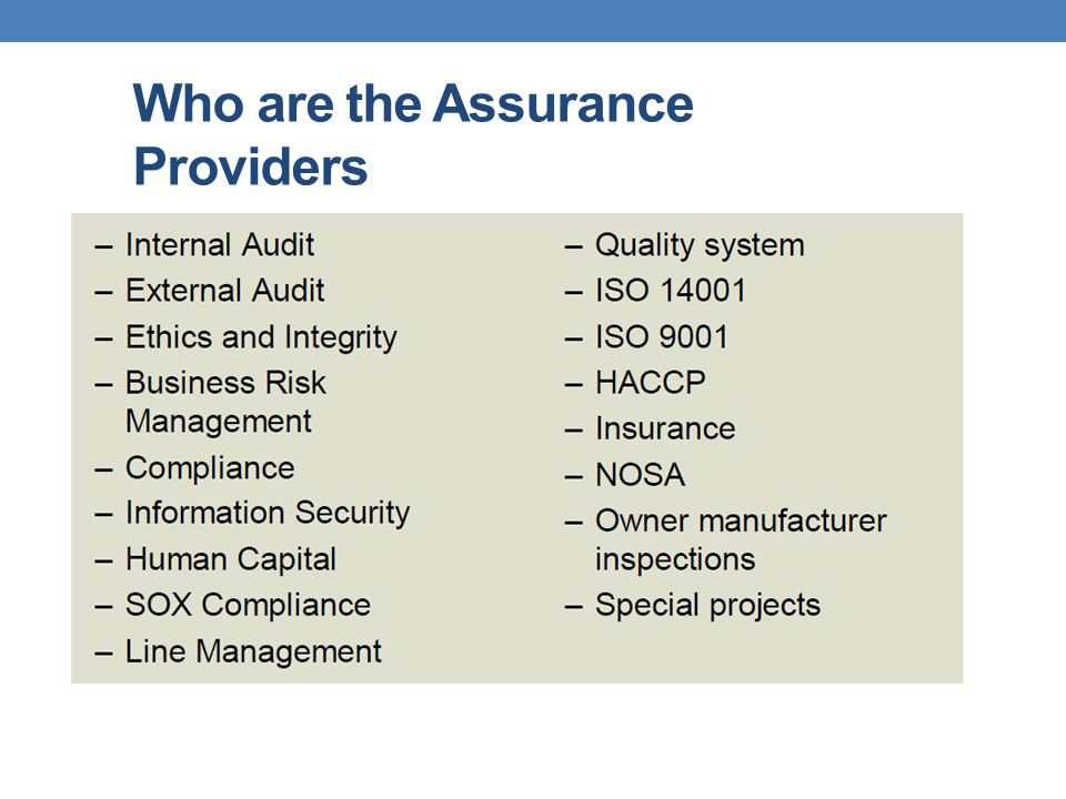 Who are the Assurance Providers