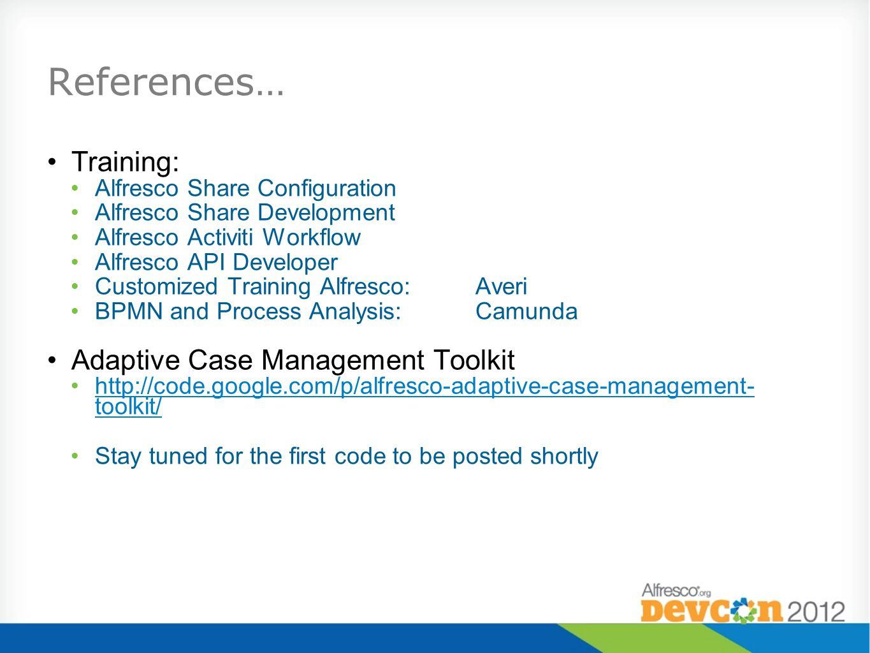 References… Training: Adaptive Case Management Toolkit