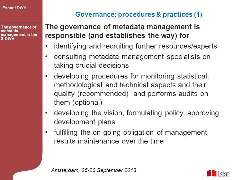 Governance: procedures & practices (1)