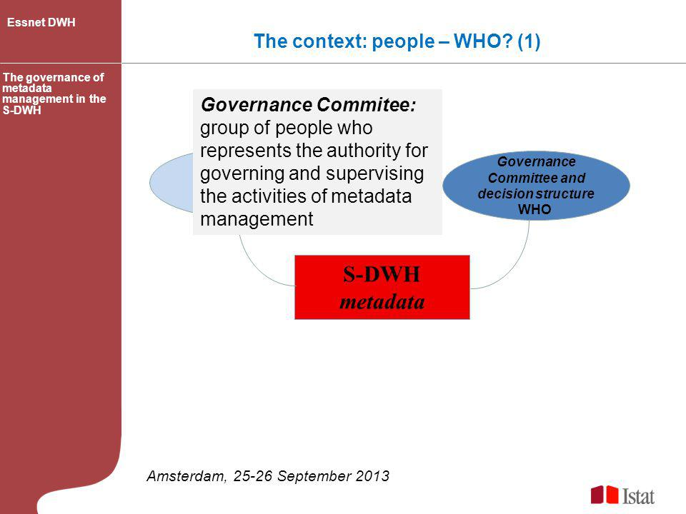 S-DWH metadata The context: people – WHO (1)