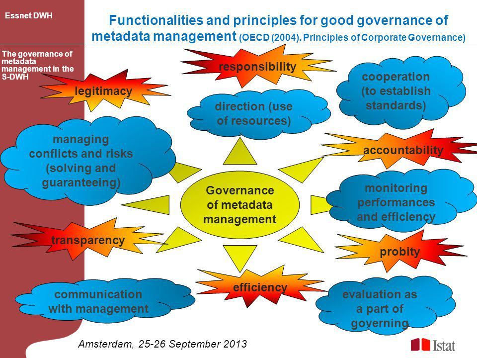 Functionalities and principles for good governance of metadata management (OECD (2004). Principles of Corporate Governance)