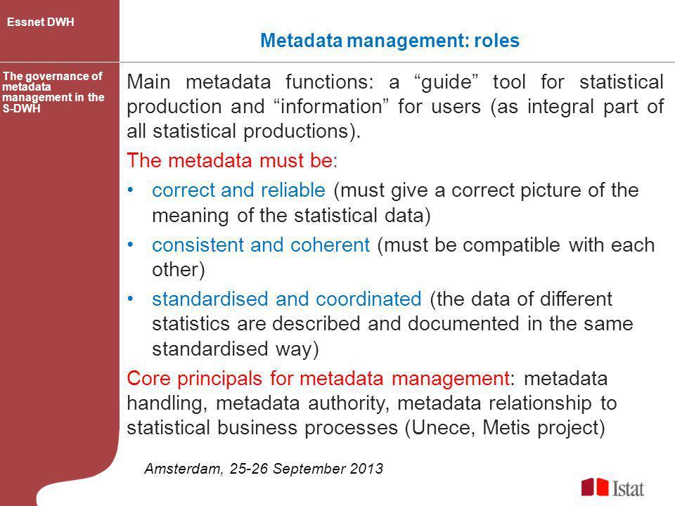 Metadata management: roles