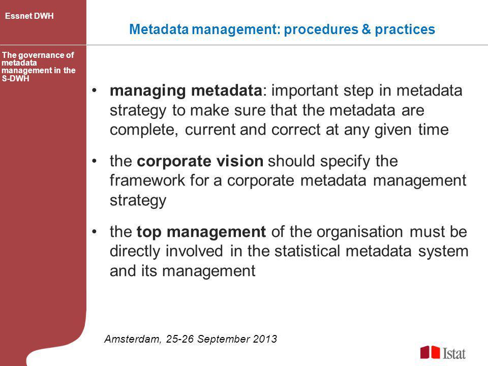 Metadata management: procedures & practices