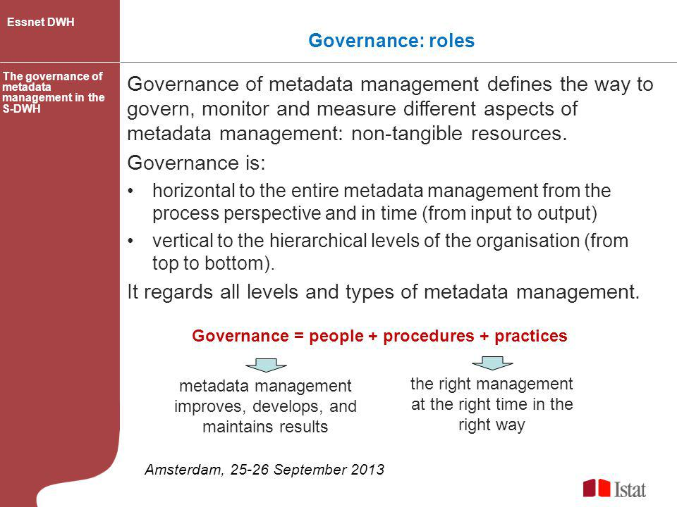 It regards all levels and types of metadata management.