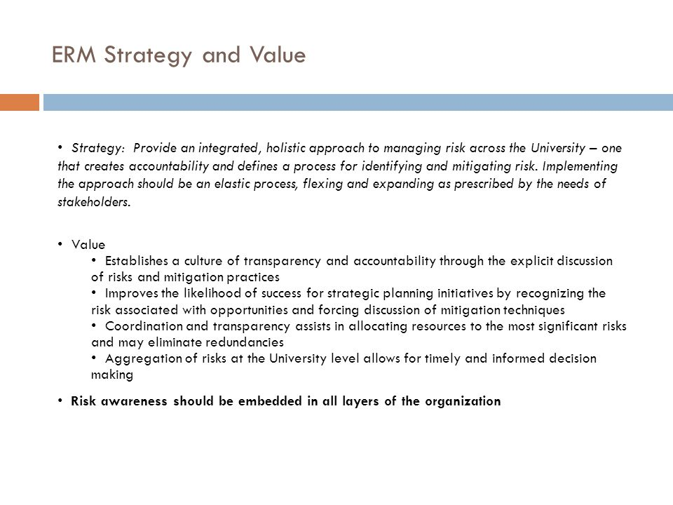 ERM Strategy and Value