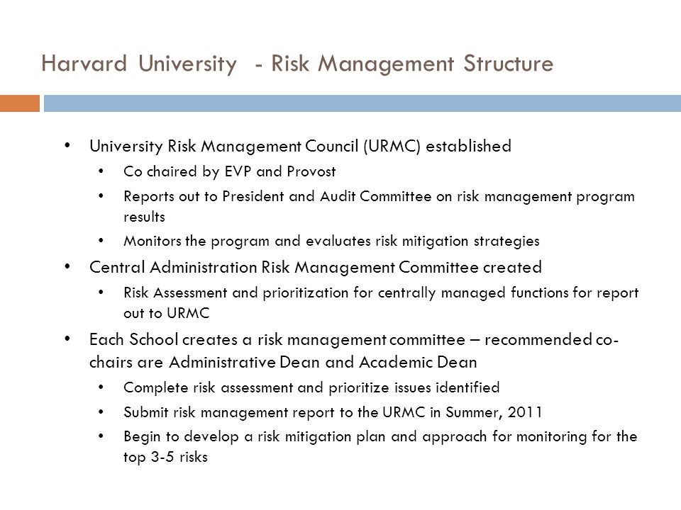 Harvard University - Risk Management Structure