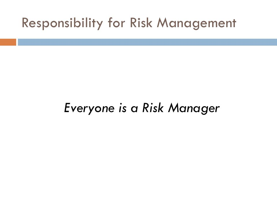 Responsibility for Risk Management