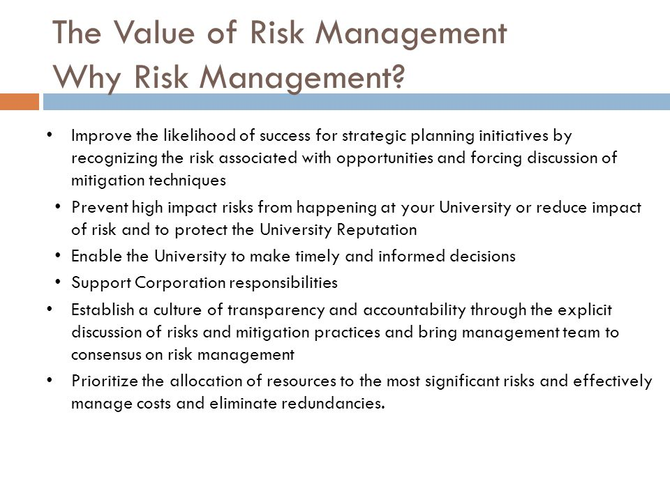 The Value of Risk Management Why Risk Management