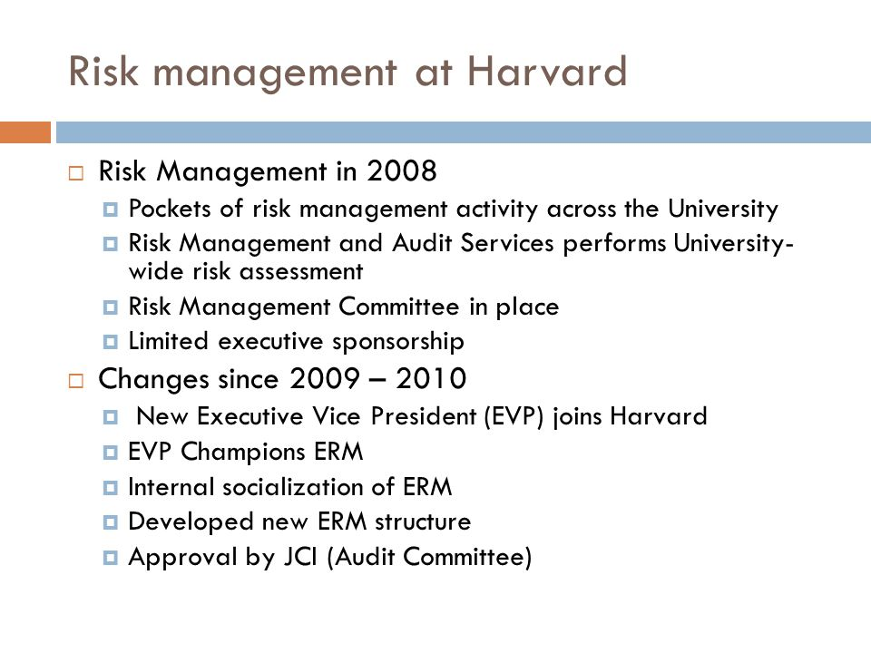 Risk management at Harvard