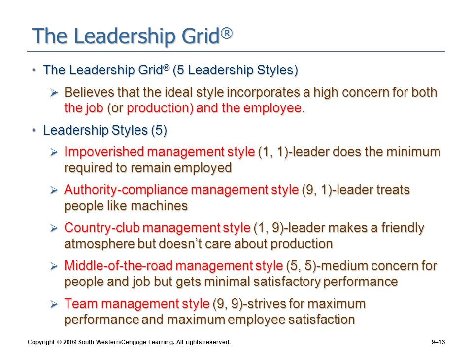 leadership and managerial style Learn about the blake and mouton managerial grid, which includes five styles of leadership: impoverished, country club, produce or perish.