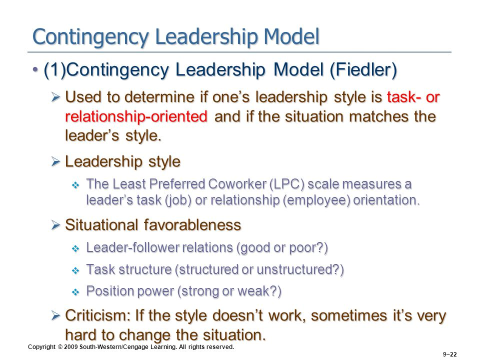 Contingency Leadership Model