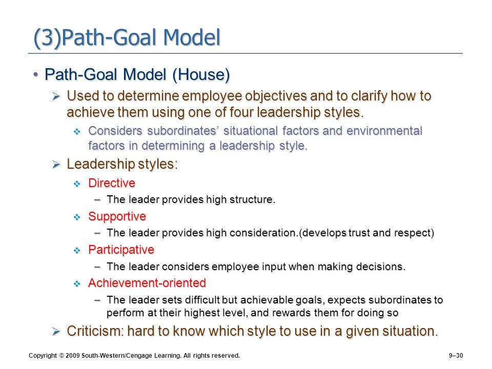 (3)Path-Goal Model Path-Goal Model (House)