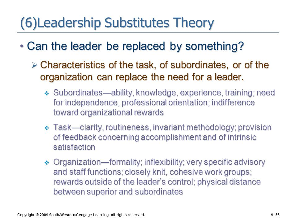 (6)Leadership Substitutes Theory