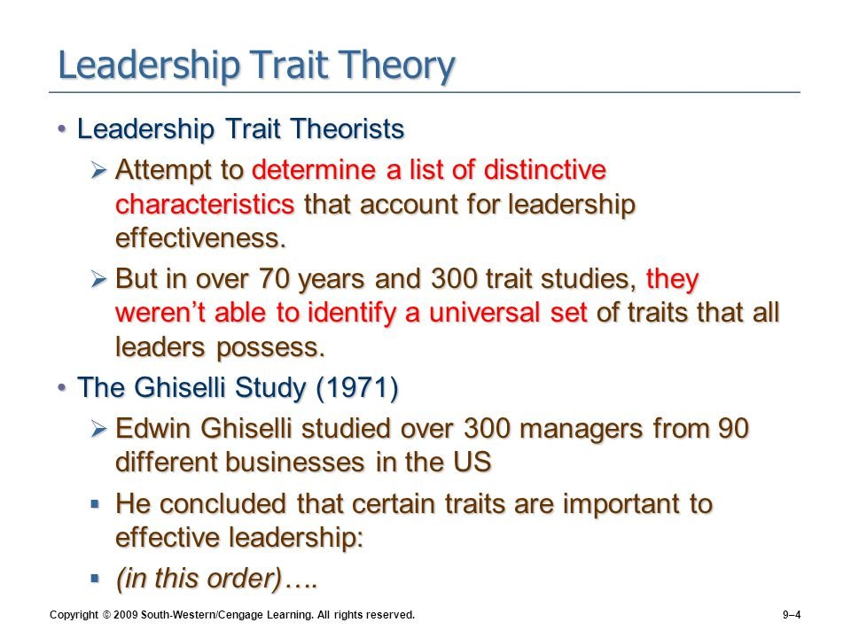 traits theory of leadership management essay The paper begins with a description of leadership trait theory, a theory that concerns itself solely with leader characteristics  leadership model essay .
