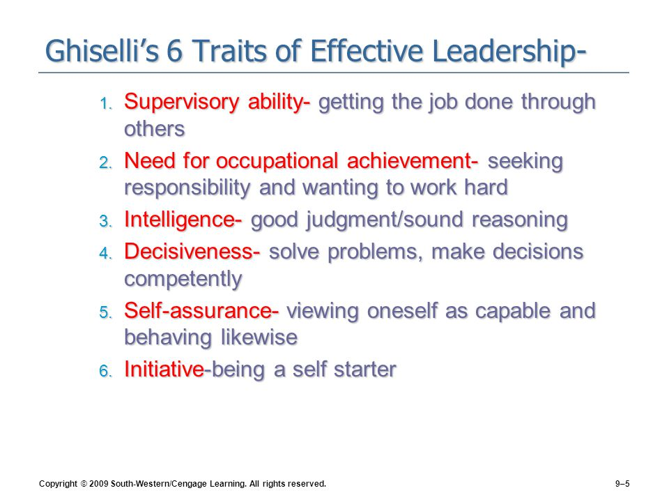 Ghiselli's 6 Traits of Effective Leadership-