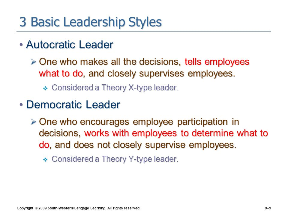 3 Basic Leadership Styles