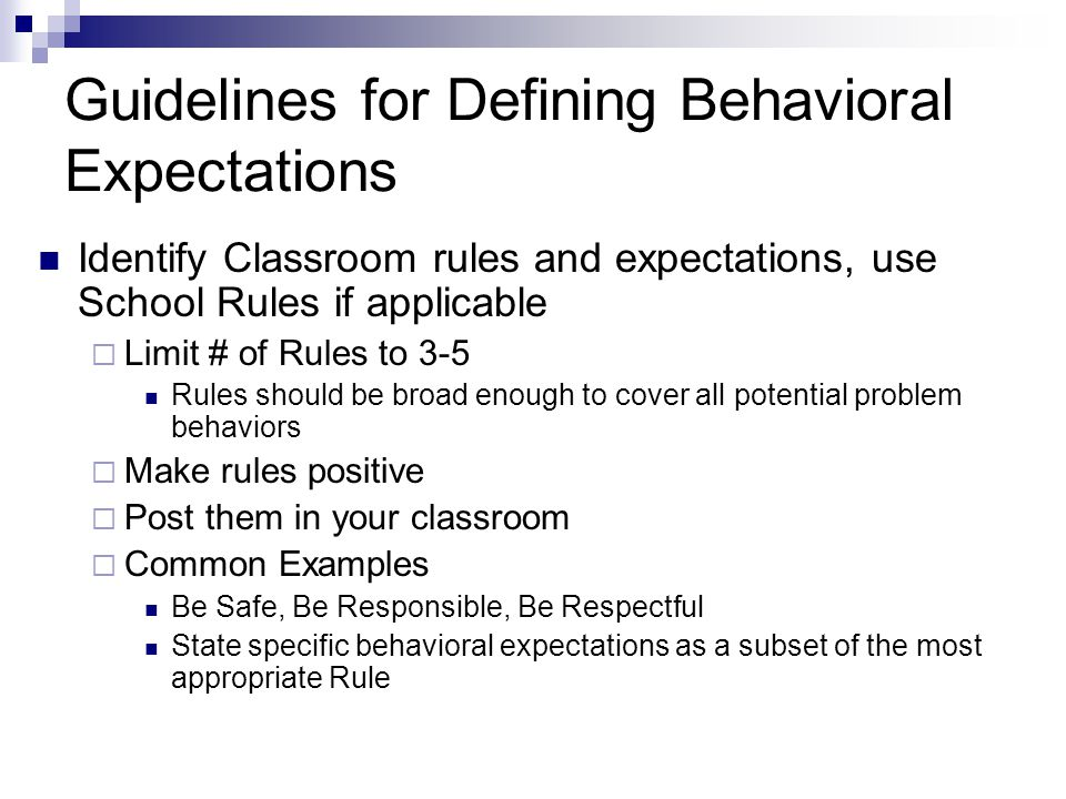 Guidelines for Defining Behavioral Expectations