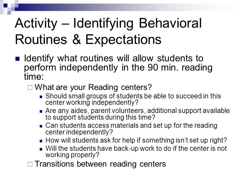 Activity – Identifying Behavioral Routines & Expectations