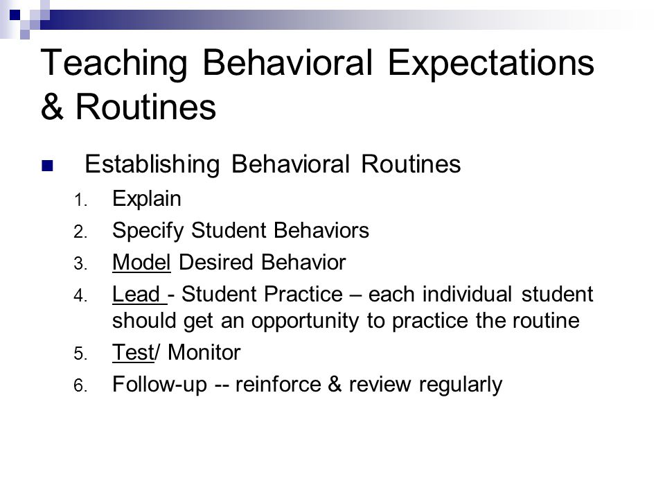 Teaching Behavioral Expectations & Routines