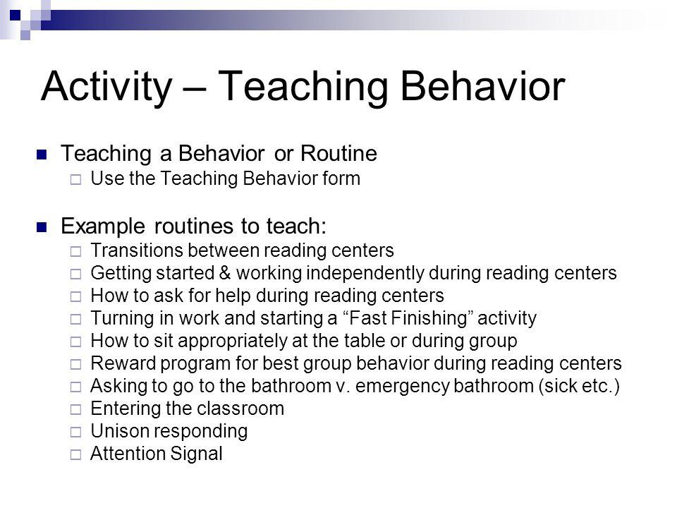Activity – Teaching Behavior