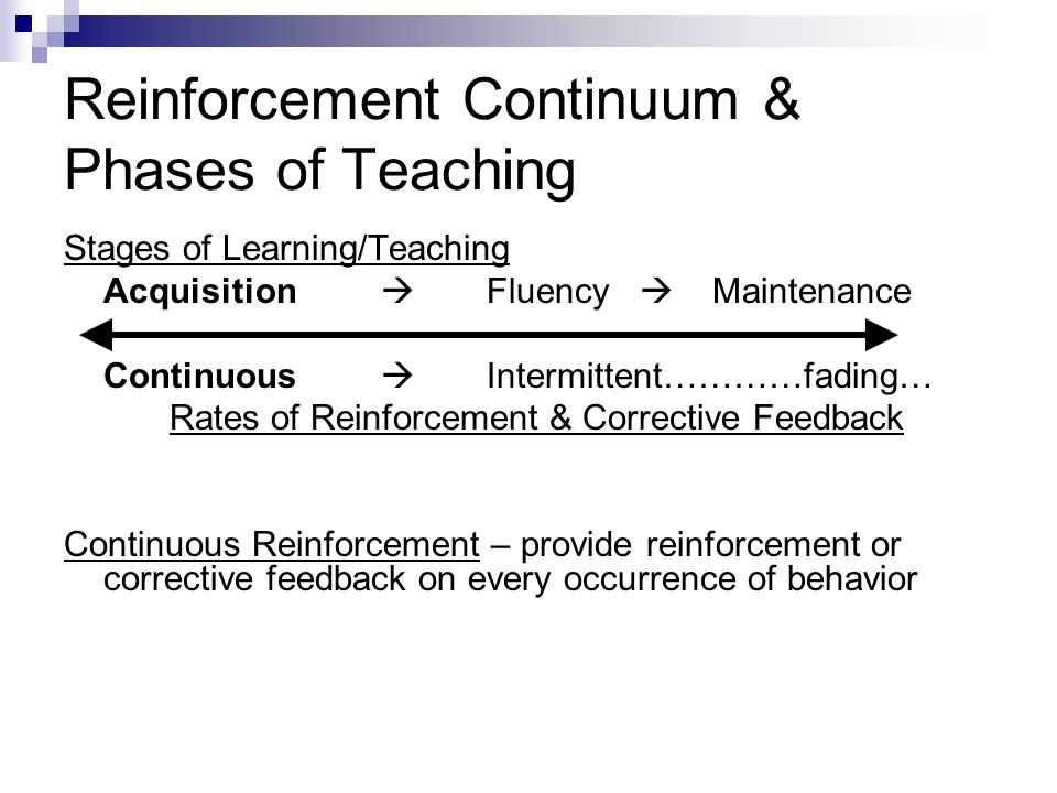 Reinforcement Continuum & Phases of Teaching