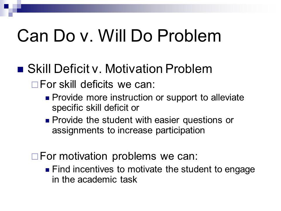 Can Do v. Will Do Problem Skill Deficit v. Motivation Problem