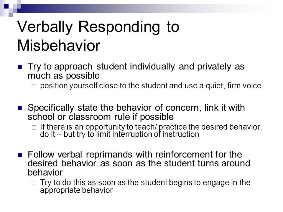 Verbally Responding to Misbehavior