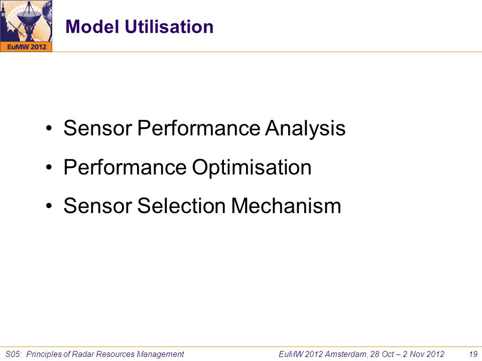 Sensor Performance Analysis Performance Optimisation