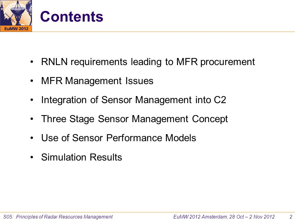 Contents RNLN requirements leading to MFR procurement