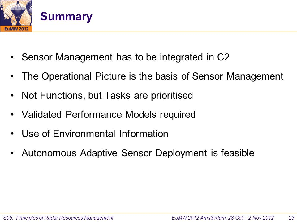 Summary Sensor Management has to be integrated in C2